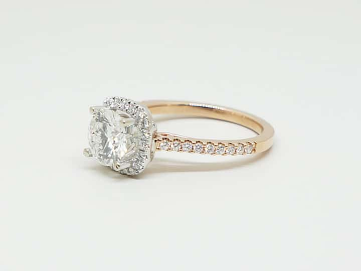 Rose gold custom diamond ring profile view