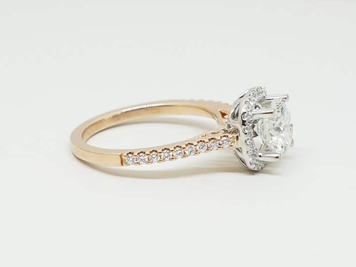 Rose gold custom diamond ring side view