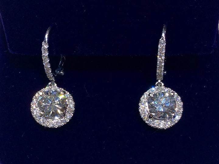 Custom Halo Diamond Earrings