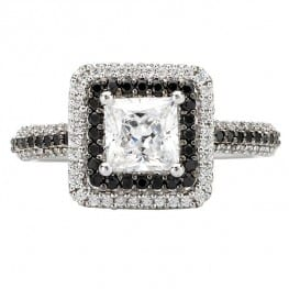 Engagement ring, square double halo with black and white diamonds, for princess cut diamond