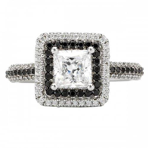 Engagement Ring Square Double Halo With Black And White