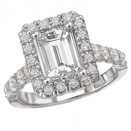 Engagement Ring, Halo style for Emerald Cut Diamond