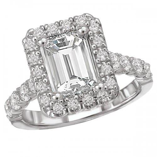 Romance White Gold Emerald Cut Halo Engagement Ring