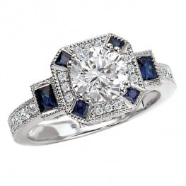 Vintage style Engagement Ring, set with round diamonds and baguette shape sapphires