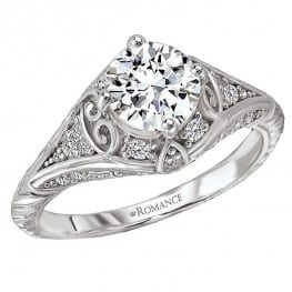 Engagement ring, Vintage style with Scroll Shaped Hearts on side
