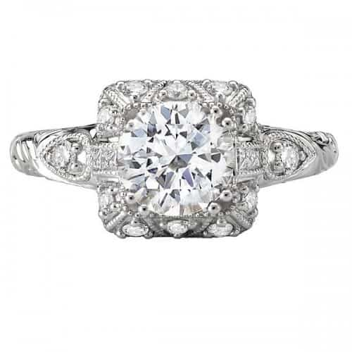 Engagement ring, Square Vintage Halo with Milgrain and Etching Detail