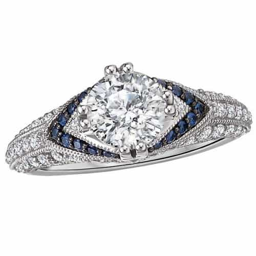 Engagement Ring, set with Sapphires and Diamonds