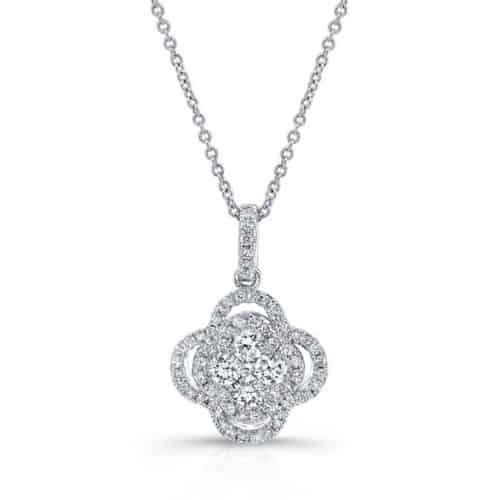 White Gold Contemporary Diamond Cluster Pendant