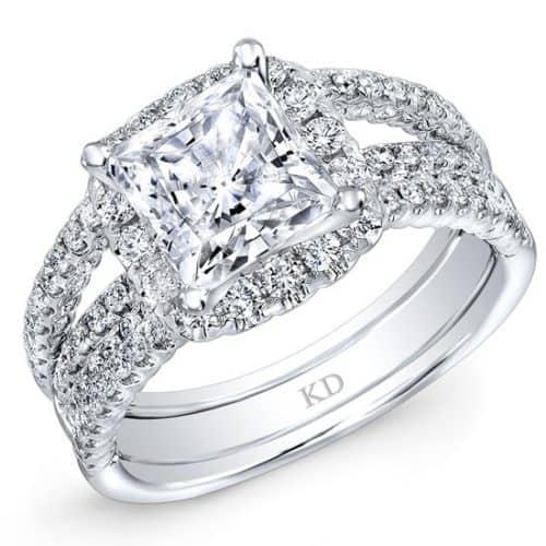 White Gold Split Shank / Halo Top Diamond Engagement Ring