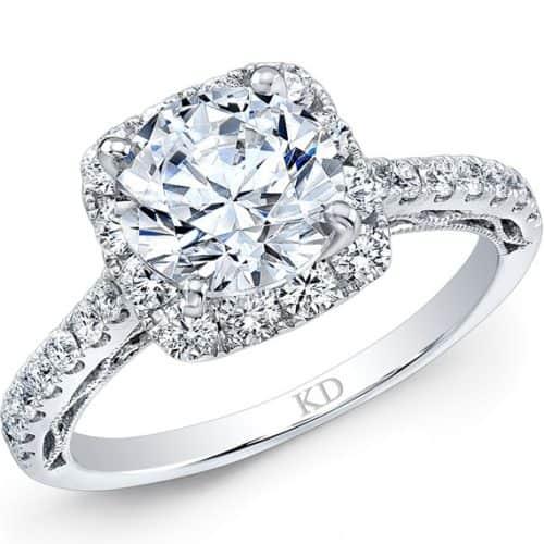18 karat white gold Classic Halo Diamond Engagement Ring