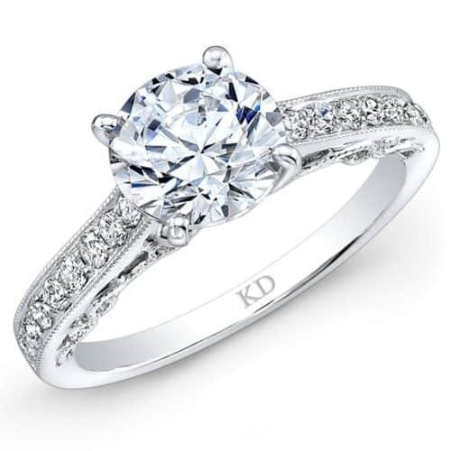 White Gold Prong Diamond Engagement Ring With Milgrain