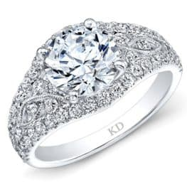 WHITE GOLD VINTAGE HALO ROUND DIAMOND ENGAGEMENT RING