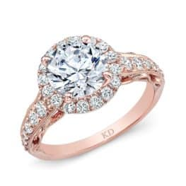 Rose Gold Classic Halo Diamond Engagement Ring