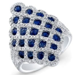 Sapphire And Diamond Ring 18 White Gold Contemporary