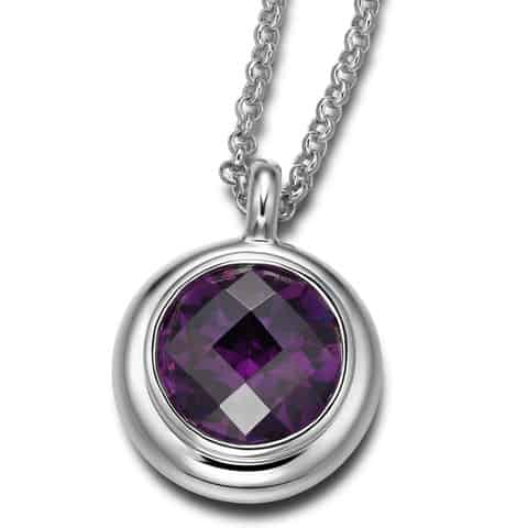 Elle Sterling Silver Amethyst and CZ Necklace