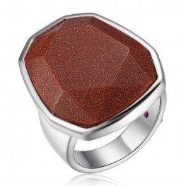 Elle Brown Goldstone Bezel Ring