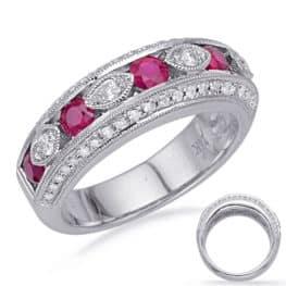 S. Kashi White Gold Ruby & Diamond Ring (C5839-RWG)
