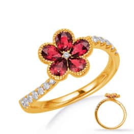 S. Kashi Yellow Gold Ruby & Diamond Ring (C5841-RYG)