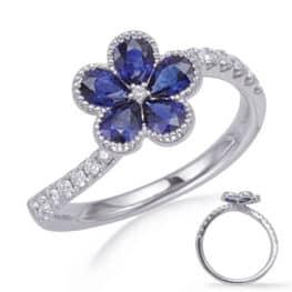 S. Kashi White Gold Sapphire & Diamond Ring (C5841-SWG)