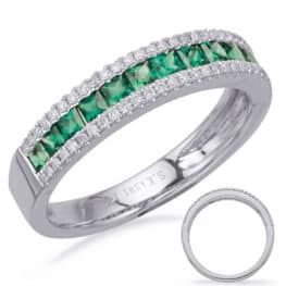 S. Kashi White Gold Emerald & Diamond Ring (C7656-EWG)