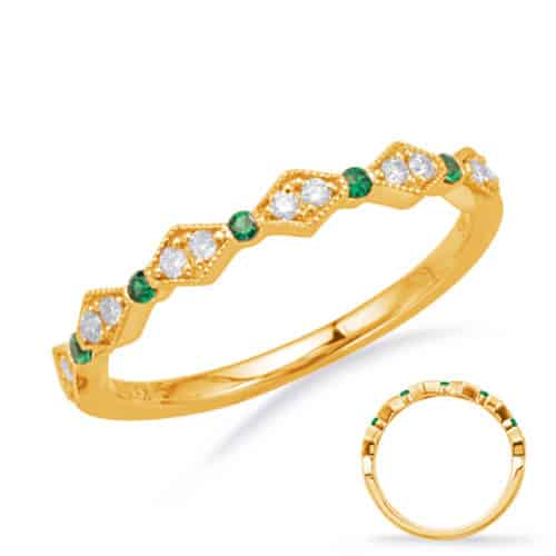S. Kashi Yellow Gold Emerald & Diamond Ring (C8031-EYG)