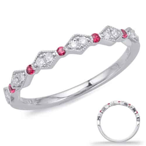 S. Kashi White Gold Ruby & Diamond Ring (C8031-RWG)