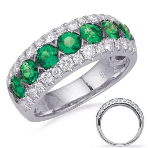 S. Kashi White Gold Emerald & Diamond Ring (C8032-EWG)