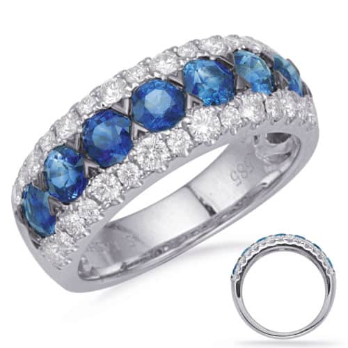 S. Kashi White Gold Sapphire & Diamond Ring (C8032-SWG)