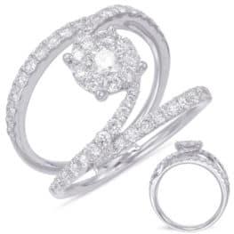 Fashion Ring, 14 k white gold,  with 56 diamonds