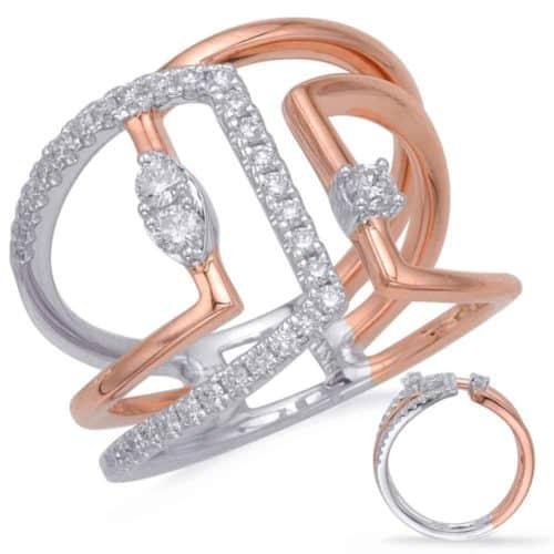 S. Kashi Rose & White Gold Diamond Fashion Ring (D4687RW)