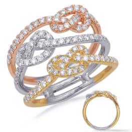 S. Kashi Rose & Yellow & White Gold Fashion Ring (D4730RYW)