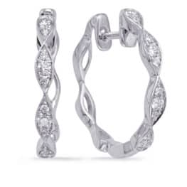 S. Kashi White Gold Diamond Hoop Earring (E8004WG)