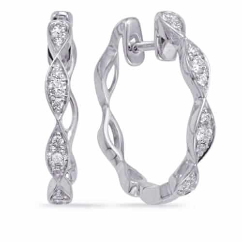 S. Kashi White Gold Diamond Hoop Earring (E8004WG)