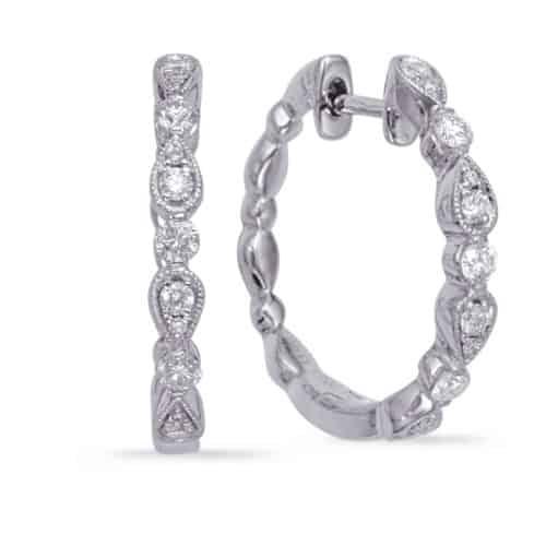 S. Kashi White Gold Diamond Hoop Earring (E8005WG)