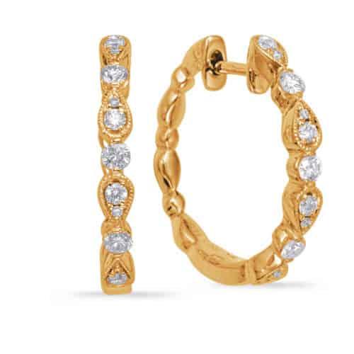 S. Kashi Yellow Gold Diamond Hoop Earring (E8005YG)