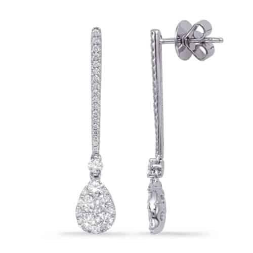 S. Kashi White Gold Diamond Fashion Earring (E8010WG)