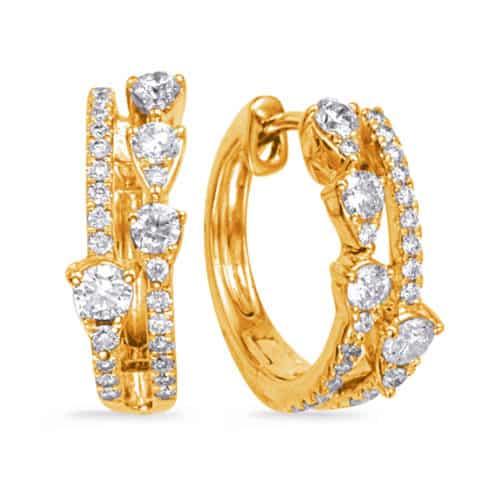 S. Kashi Yellow Gold Diamond Earring (E8013YG)