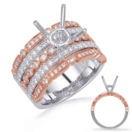 S. Kashi Rose & White Gold Diamond Engagement Rin (EN4732-15RW)