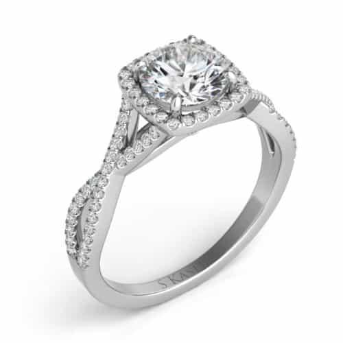 S. Kashi White Gold Halo Engagement Ring (EN7333-1WG)