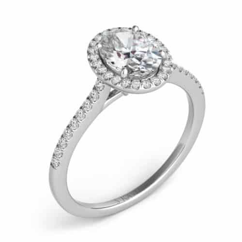 S. Kashi White Gold Halo Engagement Ring (EN7512-6X4MWG)