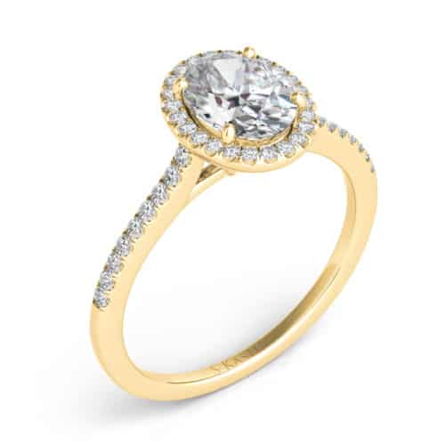 S. Kashi Yellow Gold Halo Engagement Ring (EN7512-7X5MYG)