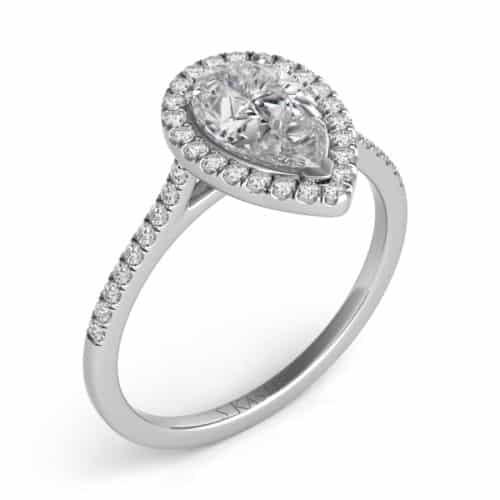 S. Kashi White Gold Halo Engagement Ring (EN7519-6X4MWG)
