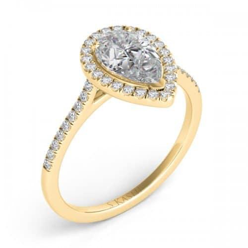 engagement ring 14 karat yellow gold pear shaped halo