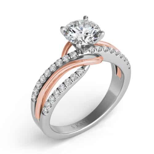 S. Kashi Rose & White Gold Engagement Ring (EN7533-1RW)