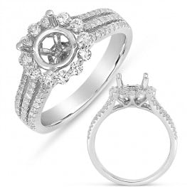 Engagement ring, Halo style, with 3 row diamond shank