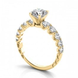 "Engagement Ring, 14 karat yellow gold, Side Diamonds in ""U"" settings, Semi-mounting"