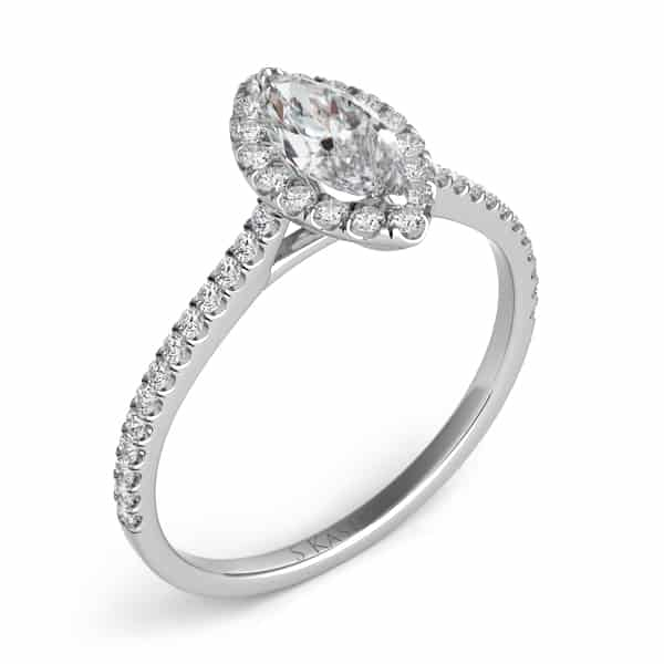 S. Kashi White Gold Halo Engagement Ring