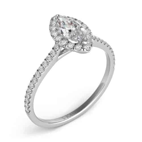 S. Kashi White Gold Halo Engagement Ring (EN7599-9X4.5MWG)