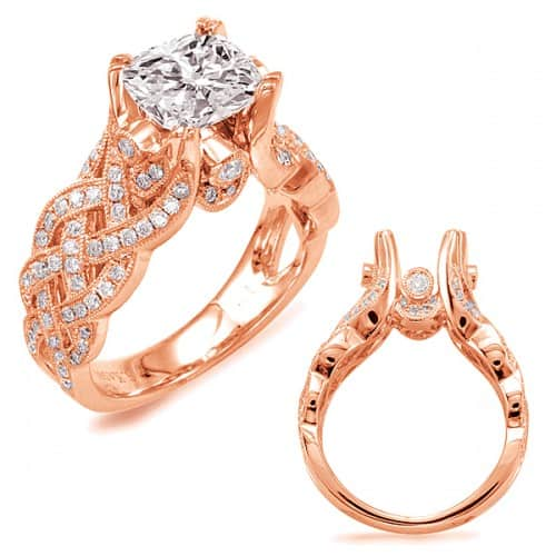 Rose Gold Engagement Ring, woven style, for cushion shape diamond