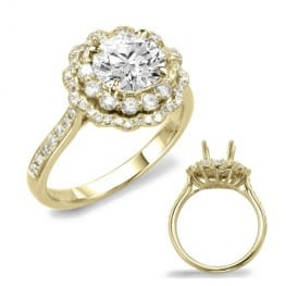 Engagement Ring, 14 karat yellow gold, Double Halo style, Semi-mounting